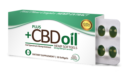 Plus CBD Softgels 10ct 10mg Total Plant Complex
