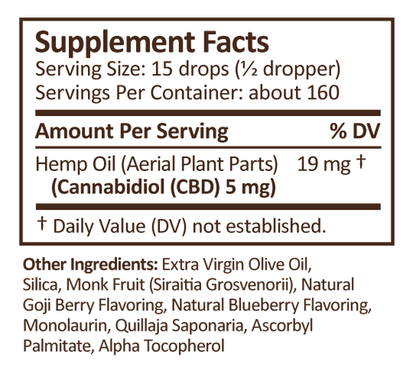 CBD Drops 2oz 750mg Goji Blueberry image number null