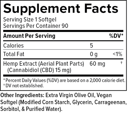 Supplemental Facts for CBD Softgels 15mg 90ct Extra Strength Formula