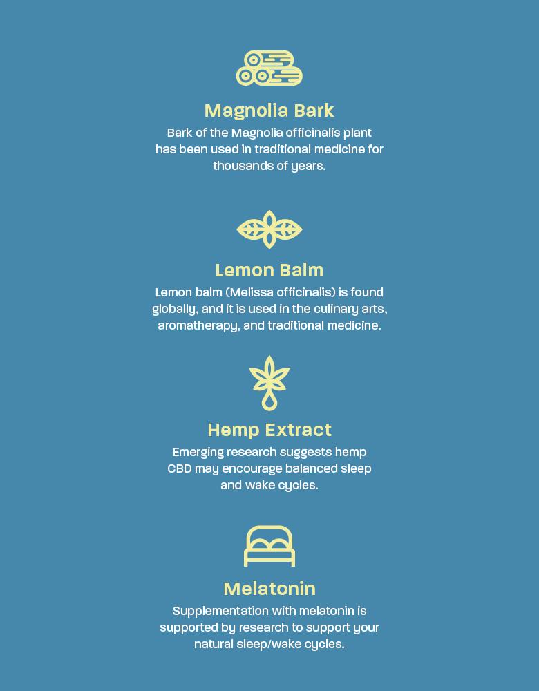 plus cbd sleep ingredients magnolia bark melatonin lemon balm cbd